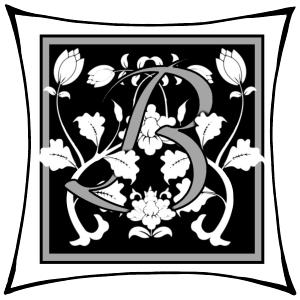 Ein B um dessen Arme Ranken geschlungen sind auf schwarzem Grund und mitgrauen graden Rahmen und darum noch ein weißer eckiger Rahmen.